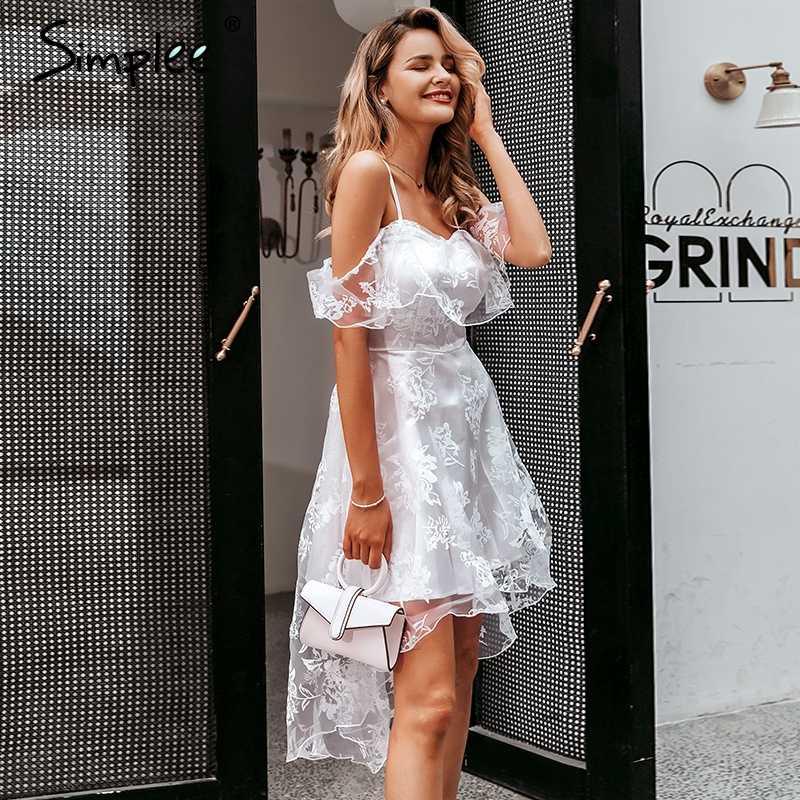 Женское платье Simplee с цветочной вышивкой, пикантное сетчатое элегантное асимметричное вечернее платье с открытыми плечами, оборками и подкладкой