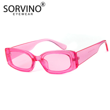 SORVINO Vintage Small Pink Rectangle Sunglasses Women Brand