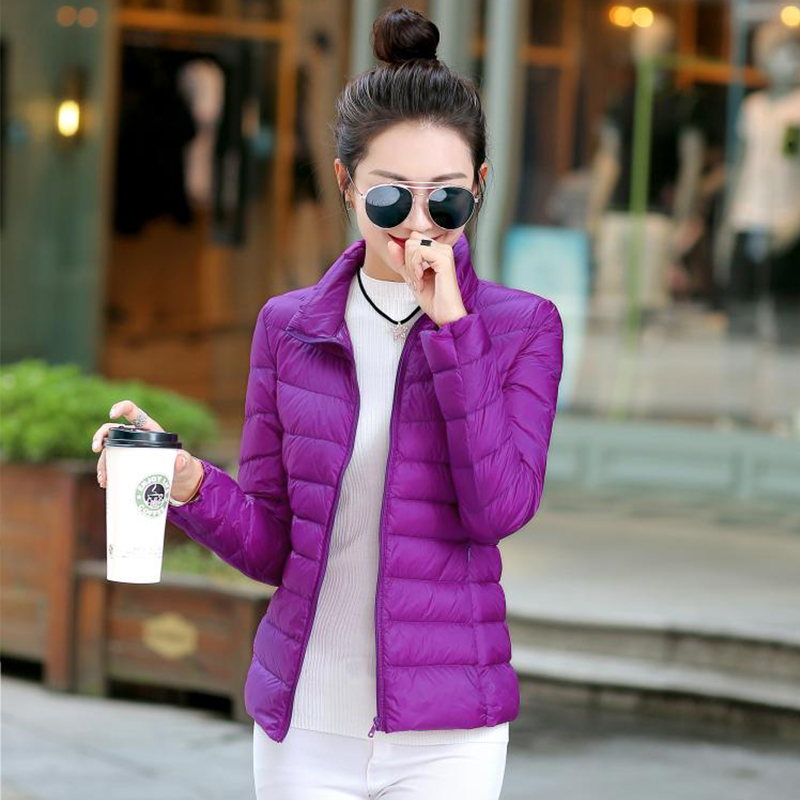 Solid Plus Size Thin Down Coat Woemn Autumn Winter Stand Collar Ultra Light Short Coat Korean Version Down Warm Thin Slim Coat