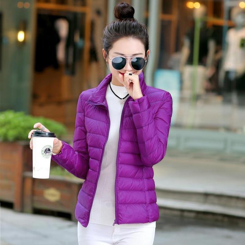 Solid Plus Size Thin Down Coat Woemn Autumn Winter Stand Collar Ultra Light Short Coat Korean Version Down Warm Thin Slim Coat