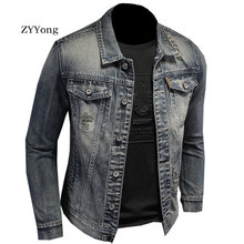 Spring Bomber Grey Ripped Denim Jacket For Men Tattered Jean Coats Hole Motorcycle Turndown Collar Slim Casual Outwear Clothing