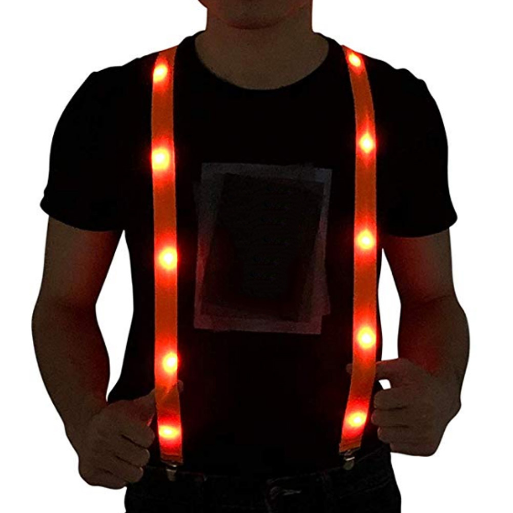LED Glow Light Up Suspenders Adjustable Elastic Outdoor Sports Warning Chest Strap FEA889
