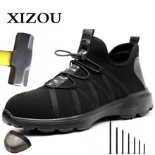 Toe-Boots Work-Sneakers Safety-Shoes Boot-Air-Mesh Steel Men Men's XIZOU Puncture-Proof