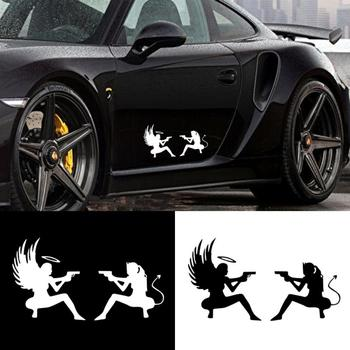 Creative Cartoon Car Sticker Demon Angel Gun Battle Reflective Decal For AWD BMW Ford Наклейки На Авто image
