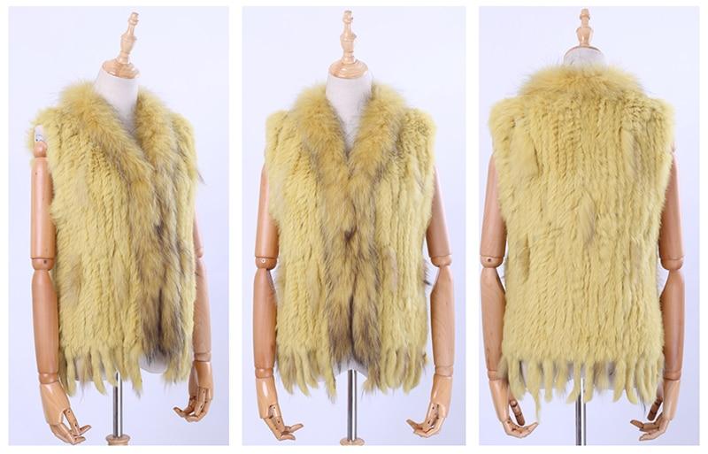 Hec6691522d374a34818392de3827651aw Brand New Women's Lady Genuine Real Knitted Rabbit Fur Vests tassels Raccoon Fur Trimming Collar Waistcoat Fur Sleeveless Gilet