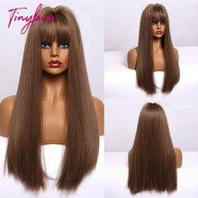 小さなlanaオンブル茶色ブロンドロングストレート合成かつら女性のための前髪アフリカ耐熱ファイバー