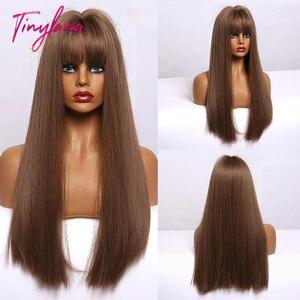 Image 1 - 小さなlanaオンブル茶色ブロンドロングストレート合成かつら女性のための前髪アフリカ耐熱ファイバー
