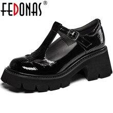 FEDONAS Brand Design scarpe da donna in vera pelle rivetti fibbia tacchi robusti pompe 2021 estate autunno festa scarpe da sposa donna