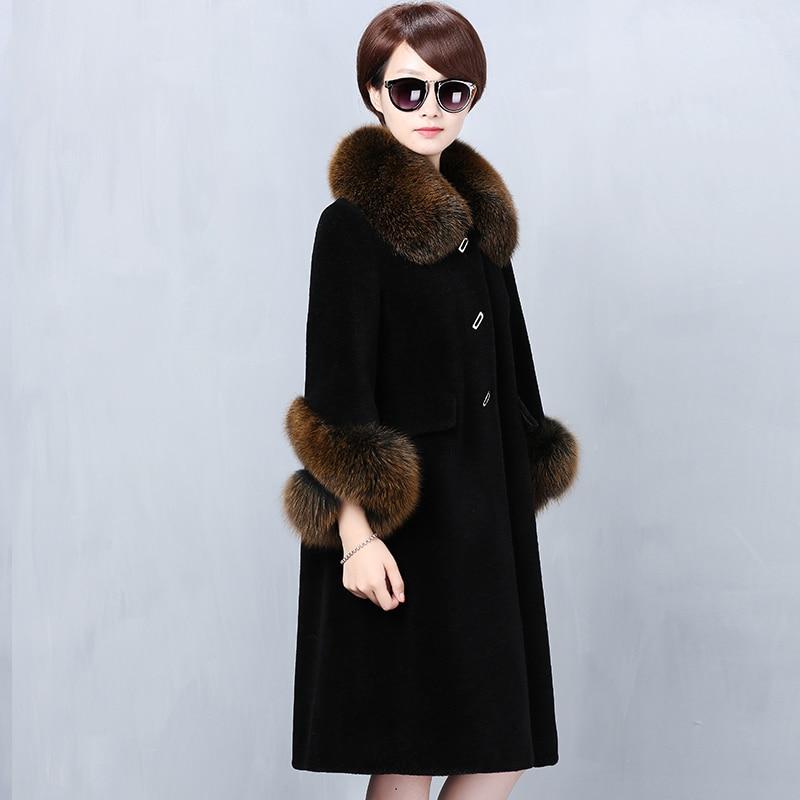 Real Fur Coat Women Korean Sheep Shearing Fox Fur Collar Jacket Women Clothes 2020 Winter Coat Women Abrigo Mujer YY1434