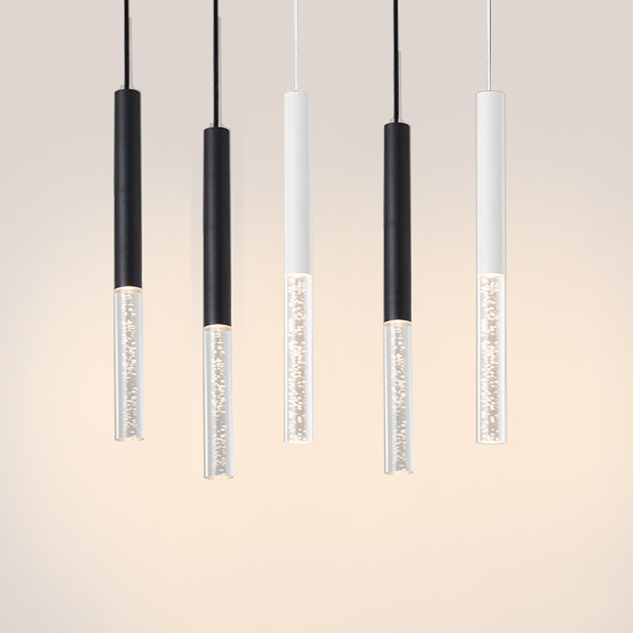 Led Pendant Lamp Hanging Lamp Kitchen Island Dining Room Shop Bar Counter Decoration Cylinder Pipe Kitchen Lamps