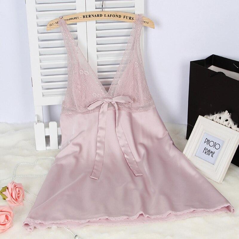 Wanita Sutra Satin Gaun Malam Renda Gaun Malam Musim Panas Gaun Rumah - Pakaian dalam - Foto 6