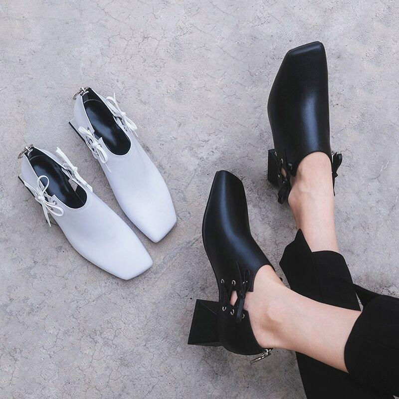 Оригинальная модная обувь из натуральной кожи; женская обувь на шнуровке; Цвет черный, белый; обувь на высоком каблуке; обувь высокого качества с квадратным носком; женская обувь для зрелых женщин - 5