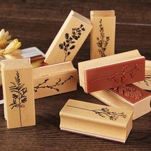 Wooden-Stamps Grass-Plants Scrapbooking Flower for Stationery Hand-Account-Decorations