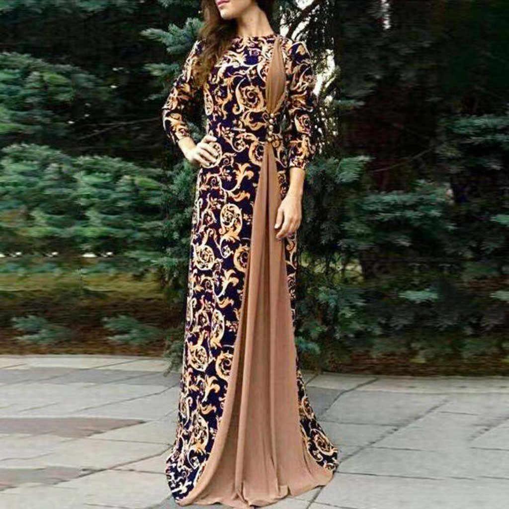 MISSOMO, макси платье, для женщин, Дубай, арабский цветочный принт, длинное платье, мусульманское платье, исламское, vestidos, длинное платье размера плюс, женские платья