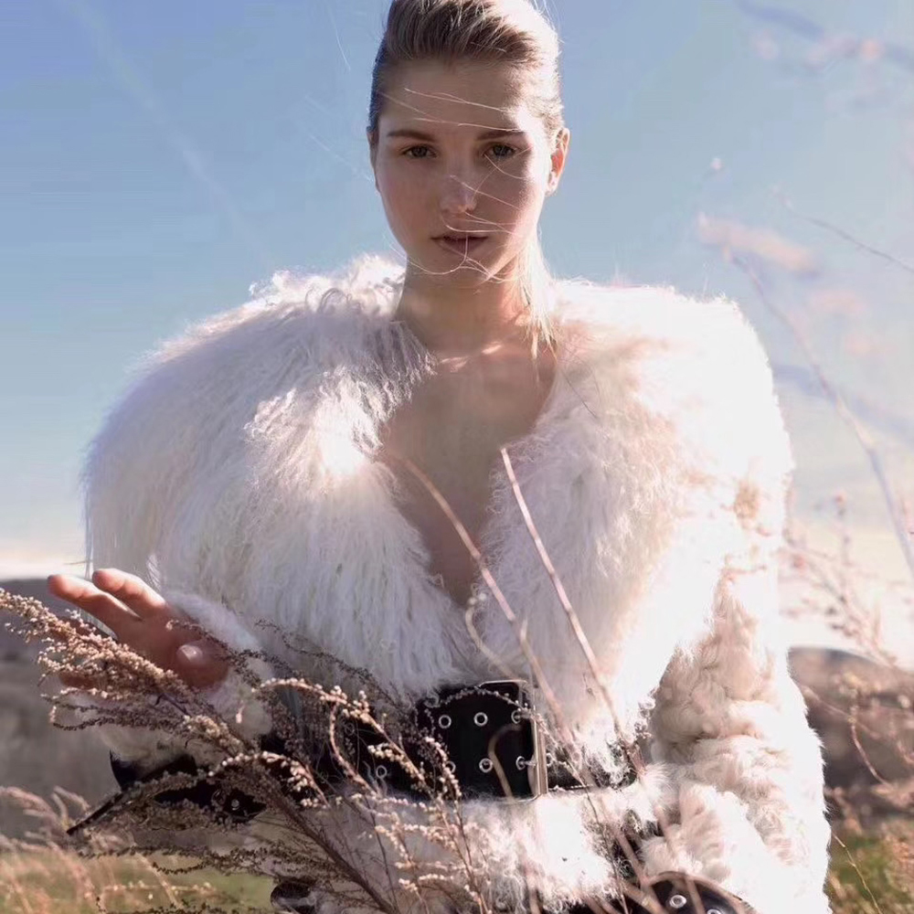 Real wool lamb's and mongolian fur coat women winter Luxury high quality jacket