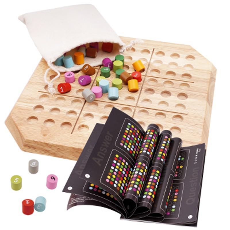 Juego de Sudoku de madera, calidad de ajedrez, rompecabezas de madera, juguetes educativos para niños, desarrollo de inteligencia, juegos de rompecabezas, juguete