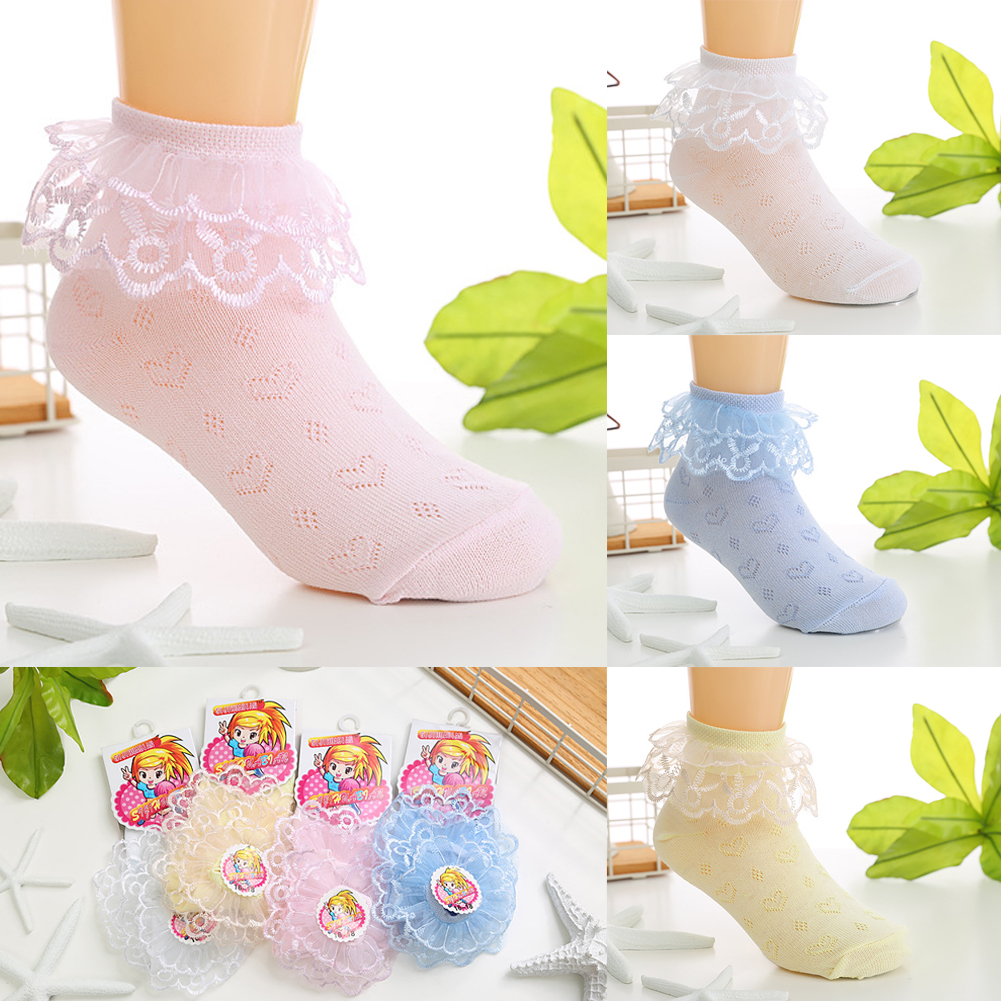 1 Pair Women Lady Lace Ruffle Fishnet Short Ankle Socks Stockings Mesh  SL