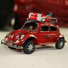 Metallic Decoration Volkswagen Beetle Canvas Car Model Vintage Iron Classic Car Crafts Christmas Gift