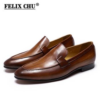 FELIX CHU Designer Fashion męskie mokasyny skórzane ręcznie czarne brązowe obuwie służbowe wesele obuwie męskie tanie i dobre opinie Prawdziwej skóry Skóra bydlęca RUBBER 125-102 Slip-on Pasuje prawda na wymiar weź swój normalny rozmiar Ręcznie malowane