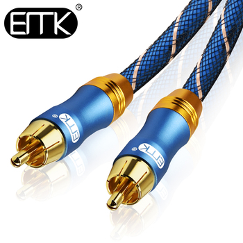 EMK Digital Coaxial Cable RCA cable Subwoofer Amplifier cable Male to Male HiFi Stereo Nylon braided 1m 2m 3m 8m Speaker DVD TV