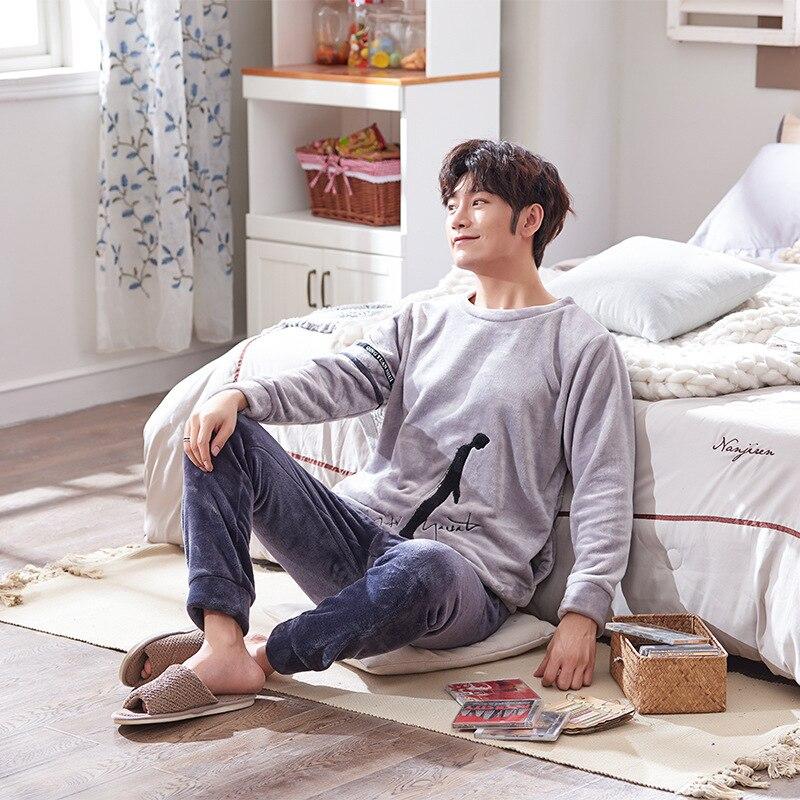 Pajamas Velvet Home-Wear Male Long-Sleeve Winter Autumn Man Thick Korean Cartoon Plus