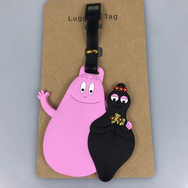 Pink Barbapapa Cartoon Luggage Tags Silica Gel Suitcase Kawaii Accessories ID Addres Holder Portable Travel Baggage Boarding