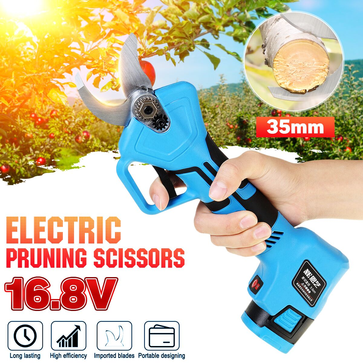 W/2 Batterys Electric Pruning Scissors Pruning Shears Garden Pruner Secateur Branch Cutter Cutting Tool 16.8V 500W Rechargeable