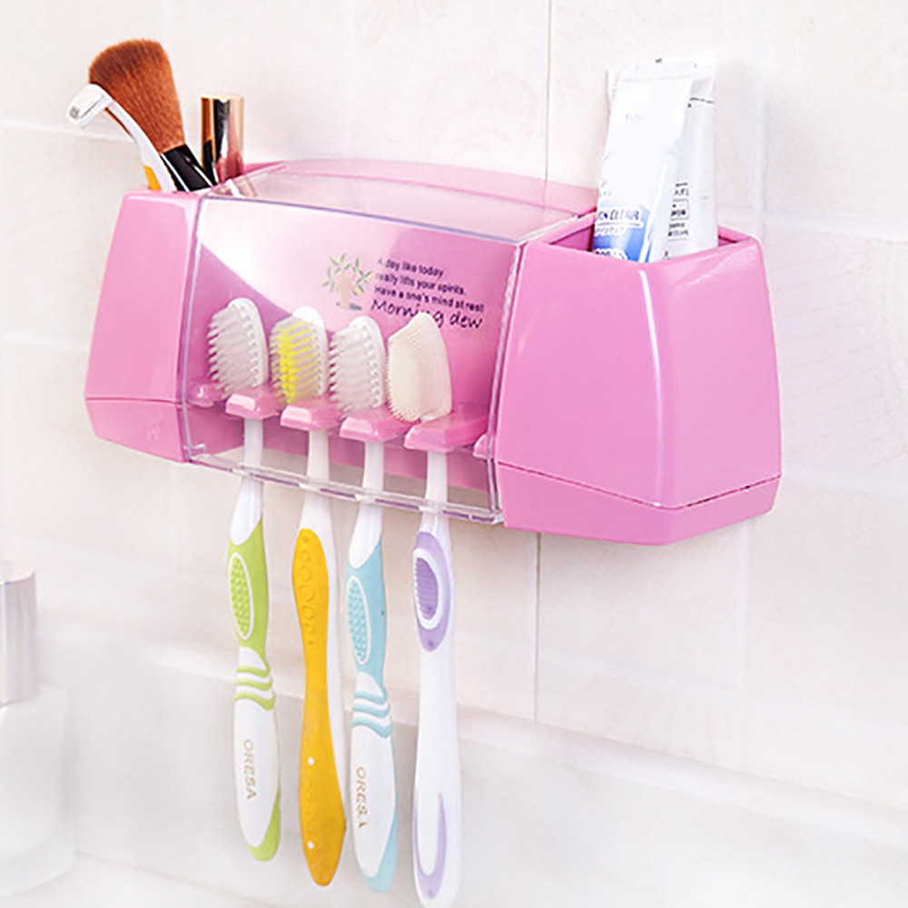 #L5 2019 New Hanging Box Toothbrush Storage Rack Bathroom Kitchen Family Utensil Spinbrush Teethbrush Holder Dustproof Wall Stan image