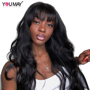 13X6 Lace Front Human Hair Wigs With Bangs For Women 180% Fake Scalp Brazilian Body Wave 360 Lace Frontal Wigs Remy Full You May(China)