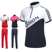 Women Golf Sportswear Short Sleeve Shirt Slim Long Pants Ladies Casual Sports Suits Golf Golf Clothing Sets D0683(China)
