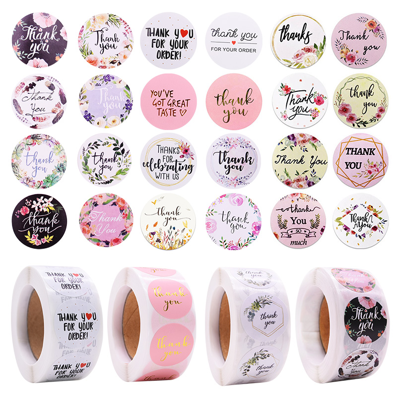 500pcs/roll Thank You Stickers Sealing Labels Adhesive Round Paper Sticker Party Favors Packaging Supplies Soap Label Stickers