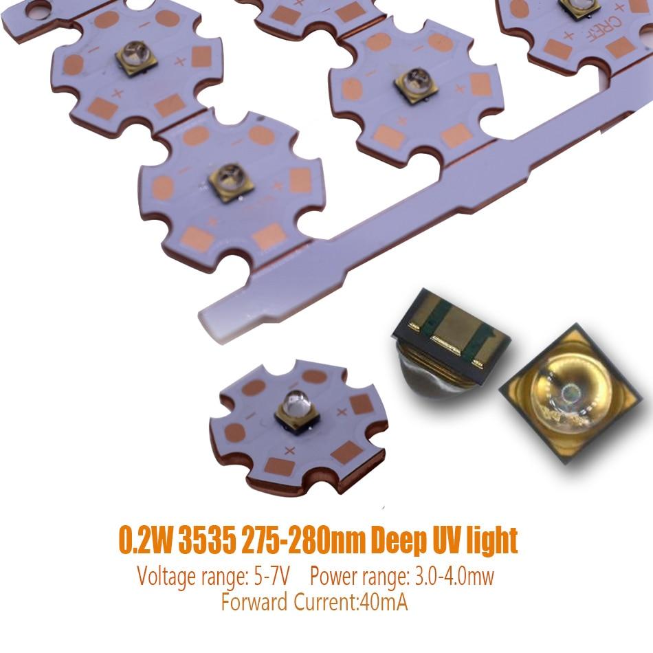 High Power 3535 0.2W 275-280NM Deep UV LED CHIP UVC Ultraviolet Sterilization LED Diode 40mA 5-7V