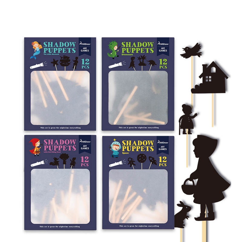 12pc/set Kids Toys Fairy Tale Story Shadow Puppets Nighttime Storytelling Projection Educational Toys For Baby