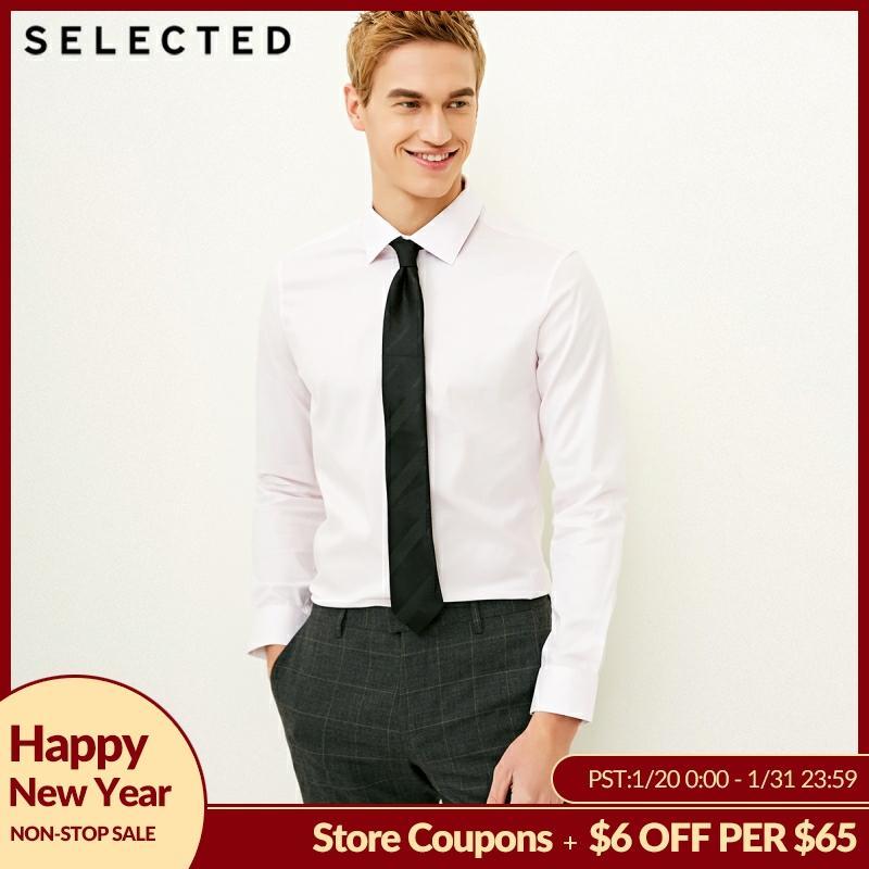 SELECTED Men's Slight Stretch Cotton-blend Pure Color Slim Fit Long-sleeved Shirt S|418105537