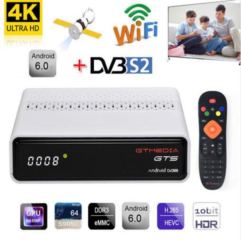 GTmedia GTS DVB-S2 Android IPTV TV Box 2GB 8GB Amlogic S905D 4K H.265 Full HD Combo CCCAM NEWCAMD Biss Key PowerVU IPTV M3U