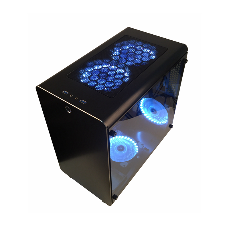 Pc ゲーマーケースタワー冷却キャビネットコンピュータミニ空のシャーシオールアルミ ATX/MATX マザーボード透明防塵最高