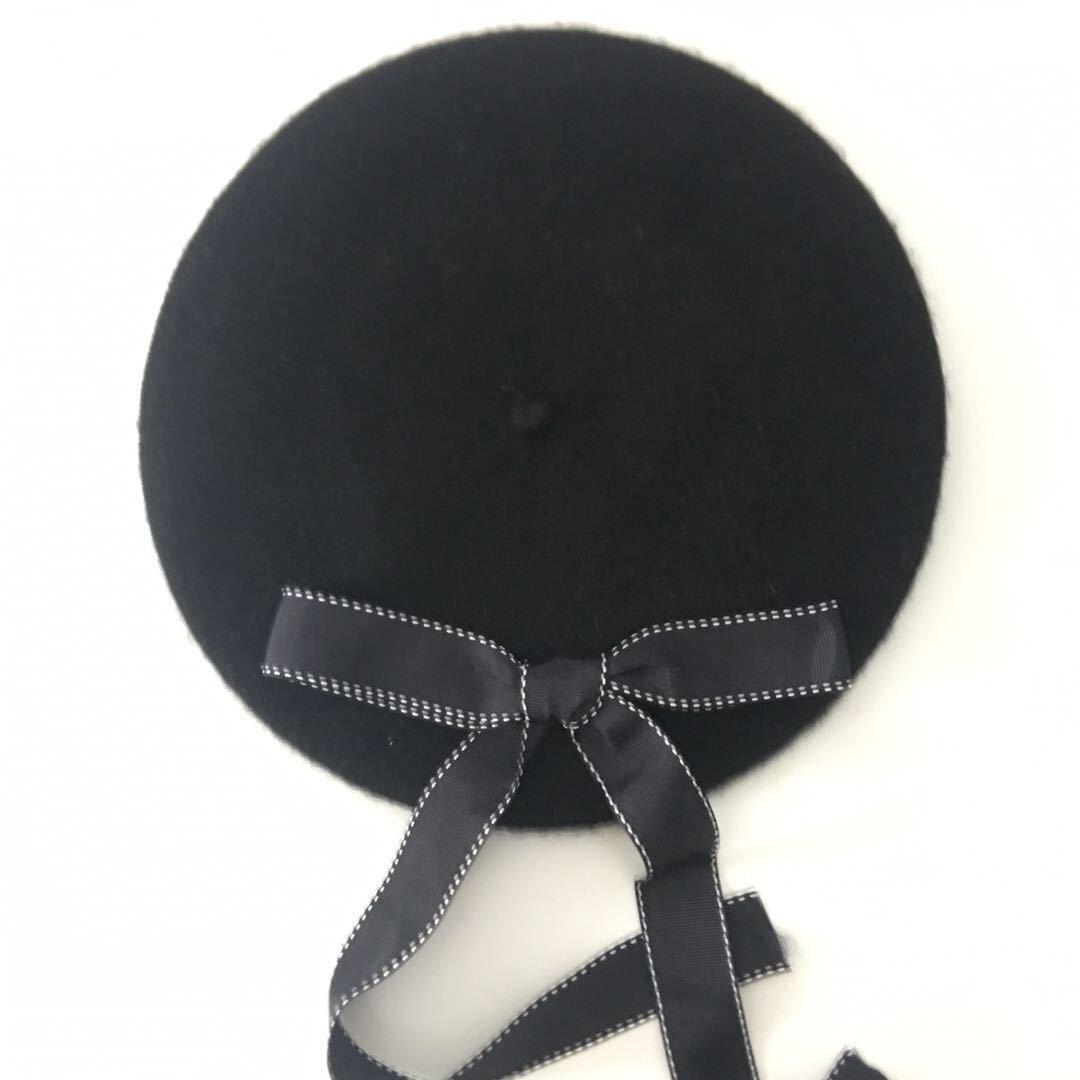Новая мода женские мягкие элегантные береты с бантом зимняя теплая шапка Harajuku шерстяной берет шапка с бантом - Цвет: black