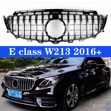 Fit For Mercedes-Benz W213 W238 E-Class Shiny Black Front Grille W/Camera Hole