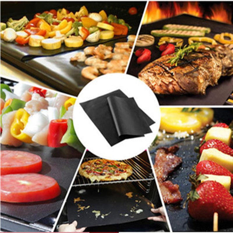 1pc Reusable Non-Stick Bbq Grill Mat Pad Baking Sheet Portable Outdoor Picnic Cooking Barbecue Oven Tool 33*40*0.2mm