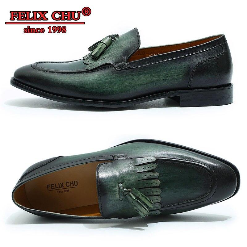 Moda hecha a mano 2019 primavera otoño CASUAL hombres borla mocasines zapatos para hombre Zapatos de oficina de negocios Zapatos negro verde marrón-in Mocasines from zapatos    1