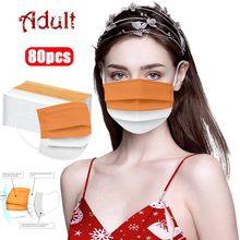 80 pièces masque jetable Orange masque blanc masque en couches masque princesse masque 3Ply boucle d'oreille masque adulte jetable motif brodé 40%