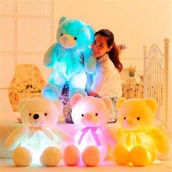 30-80 cm luz luminosa LED oso de peluche animales de peluche de juguete colorido oso de peluche brillante regalo de Navidad para niños