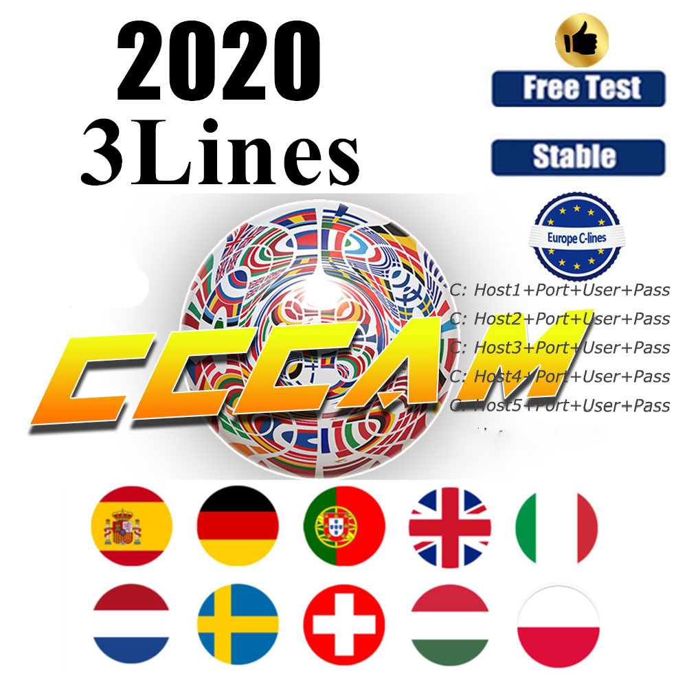 Stable 1 Year Europe Cccam Cline 3 Lines Spain 1 Year Cccam Cline HD AV Cable For Satellite Receiver DVB-S2