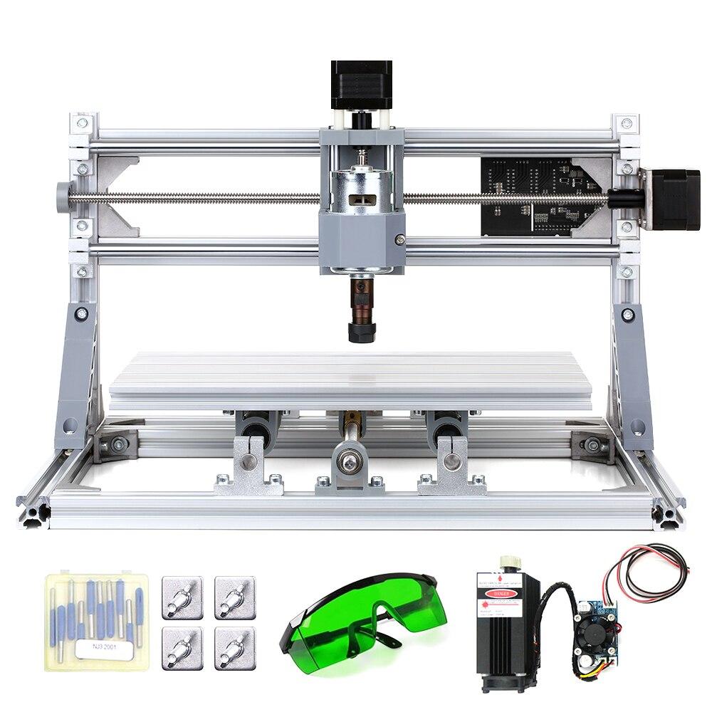 Mini Machine à graver Laser 2 en 1, Kit routeur CNC, avec contrôle GRBL, fraiseuse, gravure avec pince ER11 et lunettes de protection  