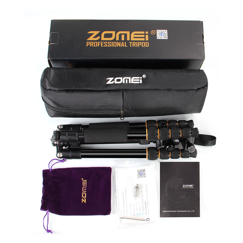 ZOMEI Q666 Professional Camera Tripod Portable Aluminum Alloy Stand Travel Lightweight Digital Camera SLR DSLR Tripod