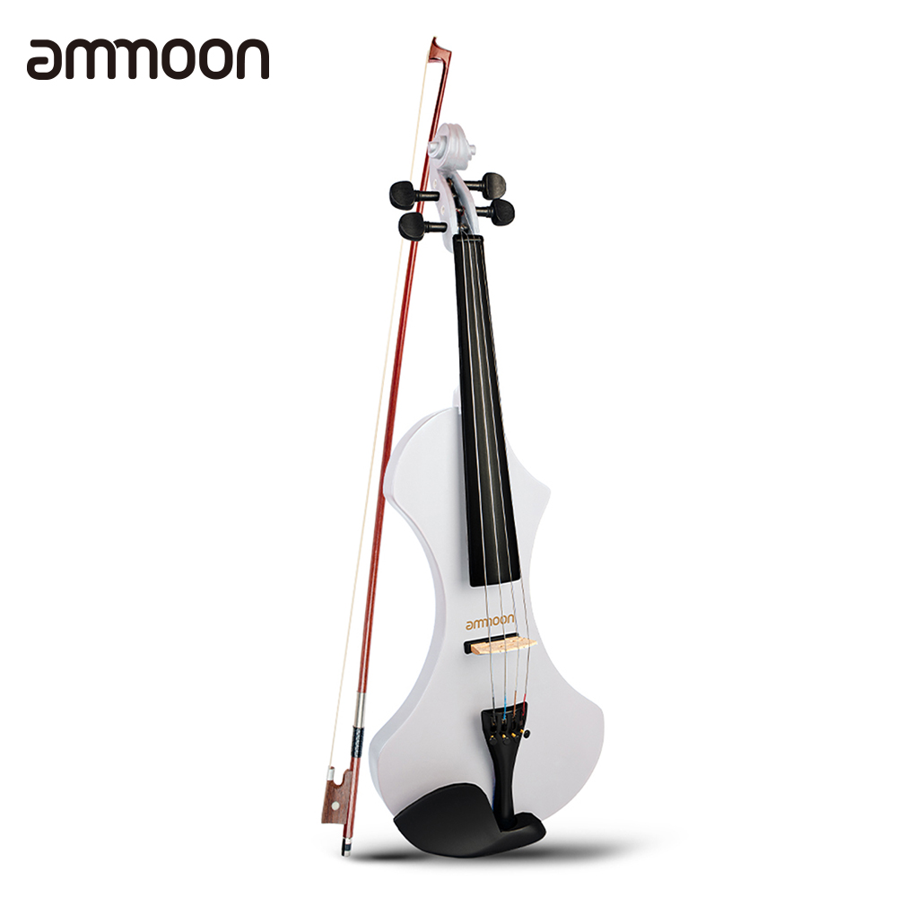 ammoon 4/4 Full Size Electric Violin Solid Wood with Brazilwood Bow Headphone Carrying Bag 6.35mm Audio Cable