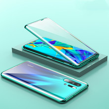 New Front And Back Glass Magnetic Metal Case For Huawei P30 Pro Lite 360 Full Body Protect
