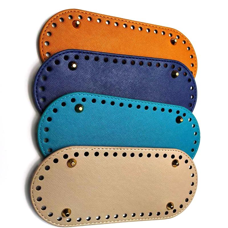 High Quality Oval Long Bottom 21*9cm Knitting Bag Bottom PU Leather Solid Accessories For Bags 42 Holes Women Handbag Bottom
