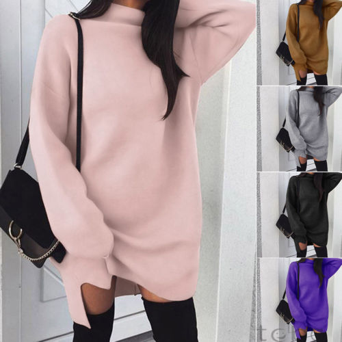 2019 Autumn Winter Long Sleeve Sweater Dress Women White Knitted Turtleneck Sweaters Pullover Jumper Female Clothes