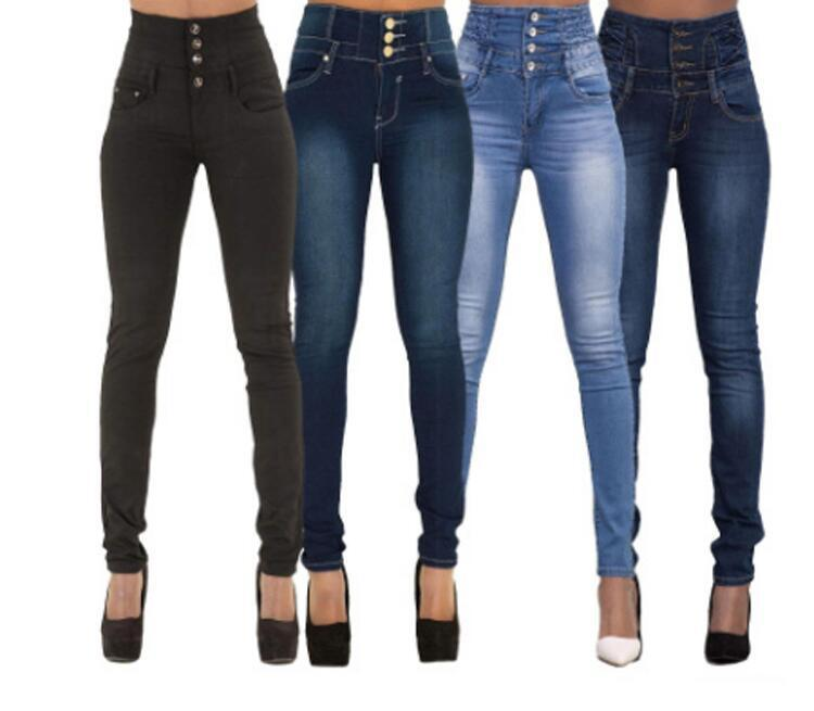 Europe And America  Hot Selling Wish New Style Women's High-waisted Slim Fit Multi-color Large Size Skinny Jeans WOMEN'S Dre